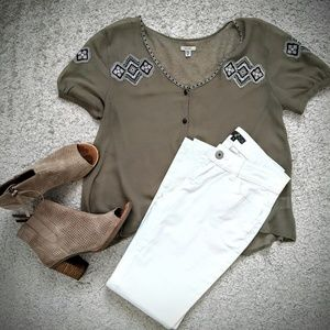 Ecote sheer khaki blouse